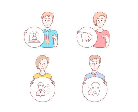 People hand drawn style. Set of Third party, Best manager and Face id icons. Healthy face sign. Team leader, Best developer, Identification system. Healthy cosmetics. People vector. Ilustrace