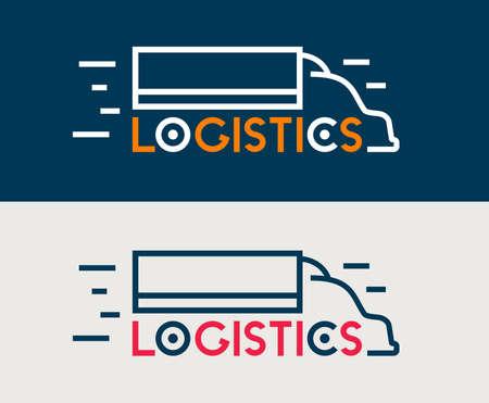 Truck delivery symbol. Logistics transportation service. International cargo company logo. Vector icon