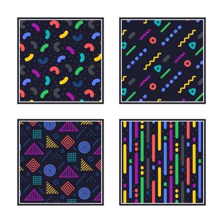 Geometric pattern. Abstract seamless texture. Colorful geometric figures or shapes. Swatches with graphic pattern. Hipster fashion Memphis style texture. Abstract line decoration composition. Vector 向量圖像