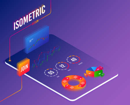 Software or Financial markets analytics concept. Abstract isometric statictics on screen. Candlestick cryptocurrency charts. Technology process of Software testing results. Isometric vector