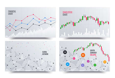 Financial Chart with Line Graph. Cryptocurrency stock exchange market. Statistics uptrend. Analytics data financial report. Blockchain ico collapse. Global cryptocurrency network chart. Vector
