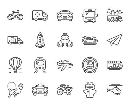 Transport line icons. Set of Taxi, Helicopter and Train linear icons. Truck, Underground metro or Tram and Air balloon transport symbols. Bike, Airport plane and Ship. Bus, Paper airplane. Vector