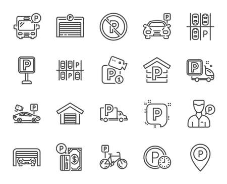 Parking line icons. Set of Garage, Valet servant and Paid parking linear icons. Video monitoring, Bike or Car park and Truck or Bus stopping symbols. Money, Map pointer and Free park place. Vector Illustration