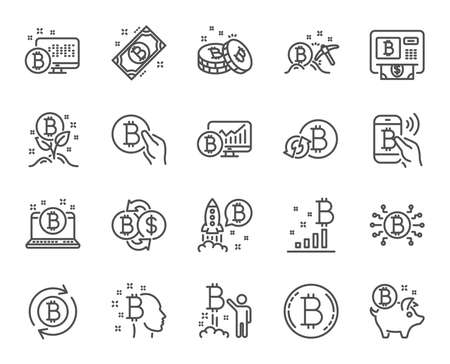 Cryptocurrency line icons. Set of Blockchain, Crypto ICO start up and Bitcoin linear icons. Mining, Cryptocurrency exchange and gold pickaxe symbols. Bitcoin ATM, crypto coins and markets. Vector Illustration