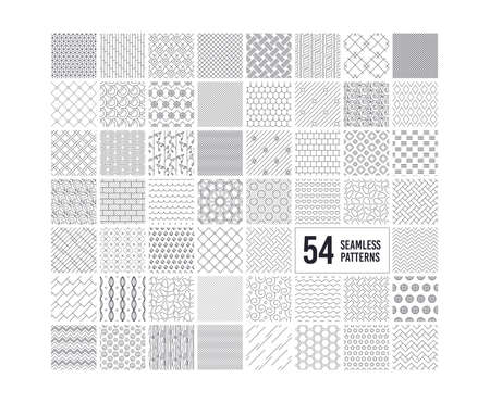 Seamless textures. Geometric, striped patterns. Abstract decoration collection. Set of 54 repeatable simple seamless textures. Floral and heart patterns. Tileable swatches. Vector illustration Illustration