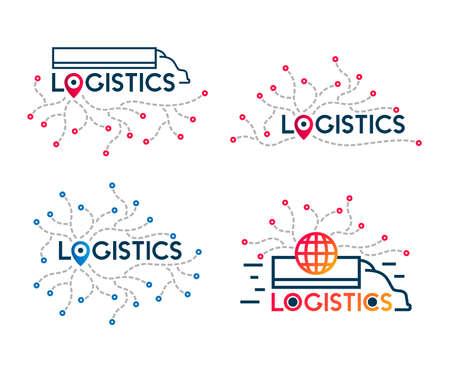 Truck delivery symbol. Logistics transportation service. International cargo company logo. Vector icons