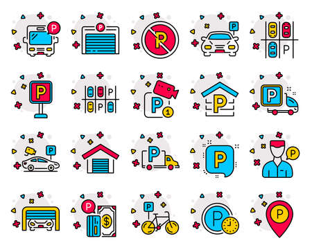 Parking color line icons. Set of Garage, Valet servant and Paid parking linear icons. Video monitoring, Bike or Car park and Truck or Bus stopping symbols. Map pointer, Free park, video camera. Vector Illustration