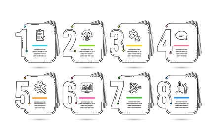 Infografika 8 opcji lub etapów projektowania osi czasu. Pomysł na biznes. Infografiki do prezentacji, banerów i układu workflow. Schemat procesu, schemat blokowy. Ikony raportu, pomysłu i startu. Wektor