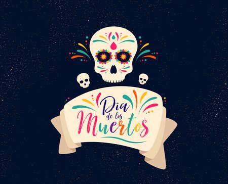 Dia de Muertos o dia de muertos. Banner de calavera para celebración mexicana. Decoración tradicional de esqueleto de México con flores y arte colorido de calaveras de azúcar. Día de fiesta muerto. Vector Ilustración de vector
