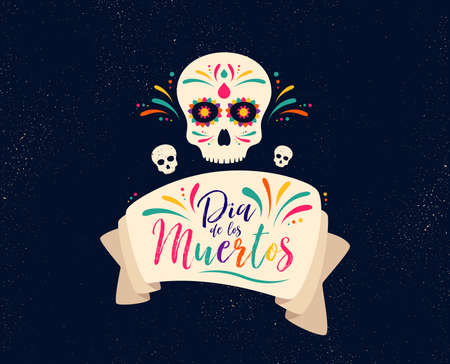 Dia de Muertos or day of the Dead. Skull banner for mexican celebration. Traditional mexico skeleton decoration with flowers and sugar skull colorful art. Day dead holiday. Vector Фото со стока - 111104019
