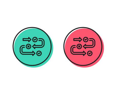 Survey progress line icon. Quiz algorithm sign. Business interview symbol. Positive and negative circle buttons concept. Good or bad symbols. Survey progress Vector Foto de archivo - 111104031