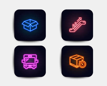 Neon glow lights. Set of Bus, Escalator and Opened box icons. Delivery timer sign. Tourism transport, Elevator, Shipping parcel. Express logistics.  Neon icons. Glowing light banners. Vector