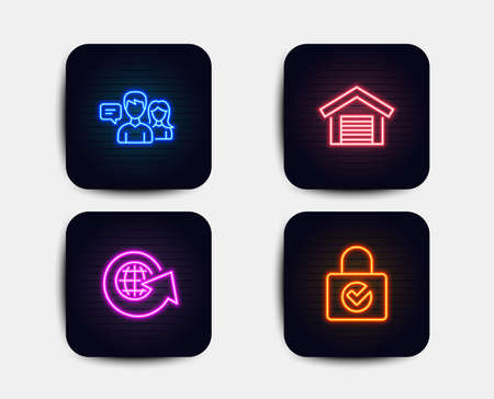 Neon glow lights. Set of People talking, Parking garage and World globe icons. Password encryption sign. Contact service, Car place, Around the world. Protection locker. Neon icons. People vector