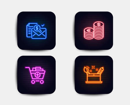 Neon glow lights. Set of Accounting report, Currency and Add products icons. Creativity concept sign. Check finance, Euro and usd, Shopping cart. Graphic art.  Neon icons. Glowing light banners