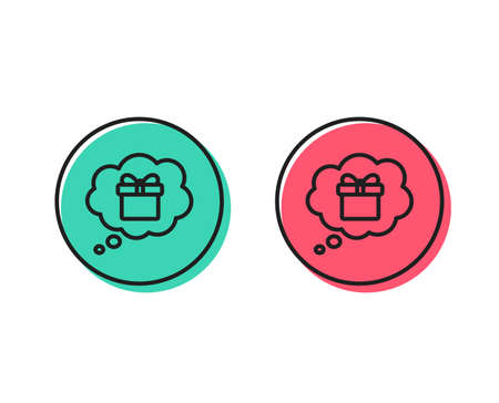 Dreaming of Gift line icon. Present box in Comic speech bubble sign. Birthday Shopping symbol. Package in Gift Wrap. Positive and negative circle buttons concept. Good or bad symbols Ilustração