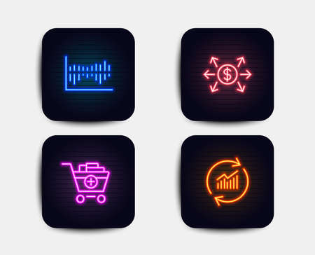 Neon glow lights. Set of Column diagram, Add products and Dollar exchange icons. Update data sign. Sale statistics, Shopping cart, Payment. Sales statistics.  Neon icons. Glowing light banners. Vector Illustration