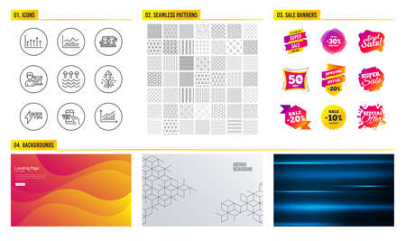 Seamless pattern. Shopping mall banners. Set of Education, Fireworks and Success business icons. Evaporation, Growth chart and Trade infochart signs. Vector