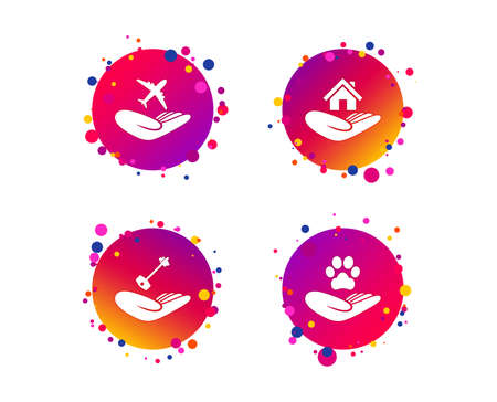 Helping hands icons. Shelter for dogs symbol. Home house or real estate and key signs. Flight trip insurance. Gradient circle buttons with icons. Random dots design. Vector Illustration
