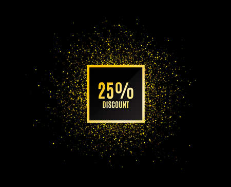 Gold glitter banner. 25% Discount. Sale offer price sign. Special offer symbol. Christmas sale background. Abstract shopping discount banner tag. Template for design. Vector