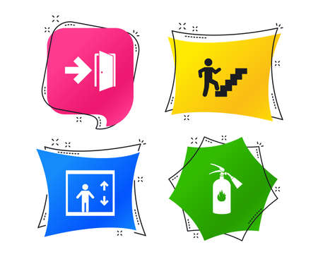 Emergency exit icons. Fire extinguisher sign. Elevator or lift symbol. Fire exit through the stairwell. Geometric colorful tags. Banners with flat icons. Trendy design. Vector