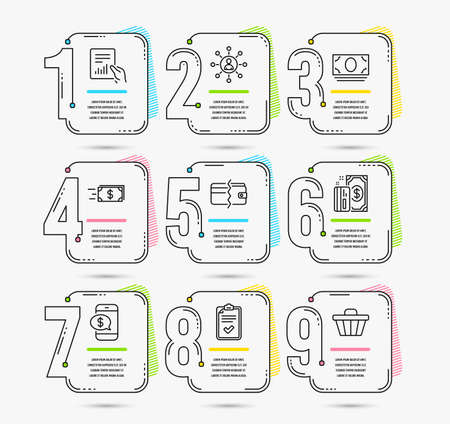 Infographic timeline with 9 options. Set of Checklist, Phone payment and Money transfer icons. Networking, Payment and Cash money signs. Document, Shop cart symbols. Vector