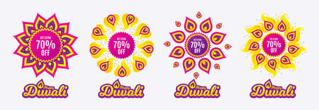Diwali sales banners. Get Extra 70% off Sale. Discount offer price sign. Special offer symbol. Save 70 percentages. Diwali hindu festival of lights. Shopping tags. Vector