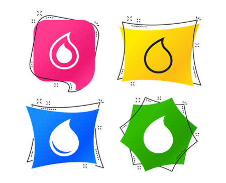 Water drop icons. Tear or Oil drop symbols. Geometric colorful tags. Banners with flat icons. Trendy design. Water drop vector