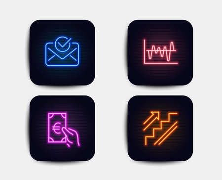 Neon glow lights. Set of Approved mail, Finance and Stock analysis icons. Stairs sign. Confirmed document, Eur cash, Business trade. Stairway. Neon icons. Glowing light banners. Approved vector Illustration