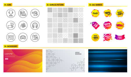 Seamless pattern. Shopping mall banners. Set of Technical info, Vacancy and Headphones icons. Award cup, Present delivery and People signs. Rubber gloves, Car and Surprise package symbols. Vector Archivio Fotografico - 111104079