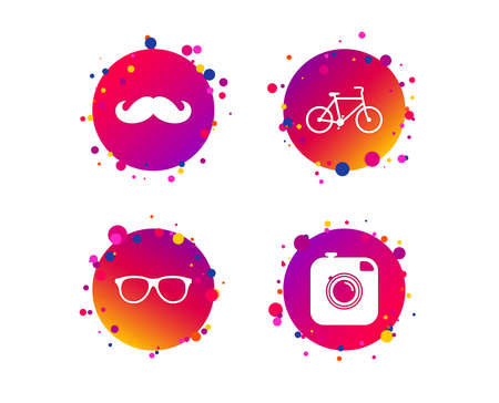 Hipster photo camera with mustache icon. Glasses symbol. Bicycle family vehicle sign. Gradient circle buttons with icons. Random dots design. Vector Imagens - 110399211
