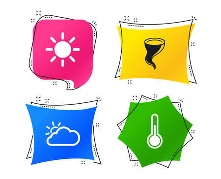 Weather icons. Cloud and sun signs. Storm symbol. Thermometer temperature sign. Geometric colorful tags. Banners with flat icons. Trendy design. Vector