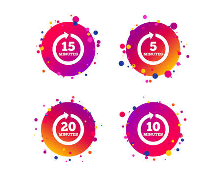 Every 5, 10, 15 and 20 minutes icons. Full rotation arrow symbols. Iterative process signs. Gradient circle buttons with icons. Random dots design. Vector Illustration