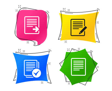 File document icons. Download file symbol. Edit content with pencil sign. Select file with checkbox. Geometric colorful tags. Banners with flat icons. Trendy design. Vector