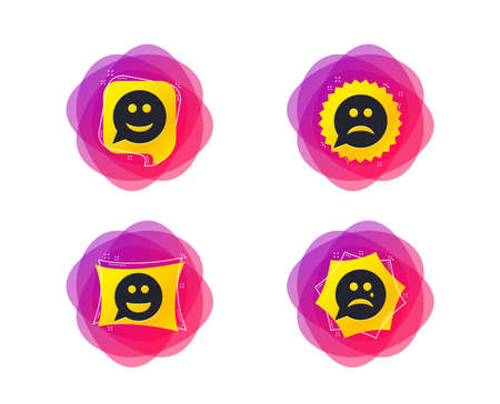 Speech bubble smile face icons. Happy, sad, cry signs. Happy smiley chat symbol. Sadness depression and crying signs. Geometric gradient sales shapes. Creative banners. Template for design. Vector