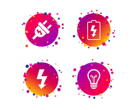 Electric plug icon. Lamp bulb and battery symbols. Low electricity and idea signs. Gradient circle buttons with icons. Random dots design. Vector 向量圖像