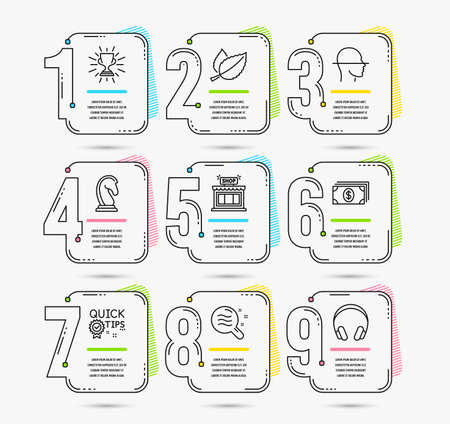 Infographic timeline with 9 options. Set of Banking, Quick tips and Mint leaves icons. Marketing strategy, Trophy and Skin condition signs. Shop, Face scanning and Headphones symbols. Timeline vector