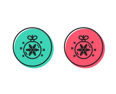 Christmas ball with snowflake line icon. New year tree decoration sign. Positive and negative circle buttons concept. Good or bad symbols. Christmas ball Vector 일러스트