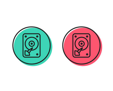 HDD icon. Hard disk storage sign. Hard drive memory symbol. Positive and negative circle buttons concept. Good or bad symbols. HDD Vector