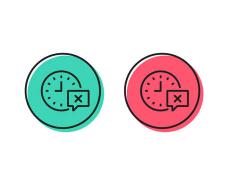 Time line icon. Remove alarm sign. Positive and negative circle buttons concept. Good or bad symbols. Time Vector Ilustrace