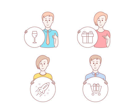People hand drawn style. Set of Startup rocket, Gift box and Wine glass icons. Shopping cart sign. Business innovation, Present package, Bordeaux glass. Gift box.  Character hold circle button Illustration