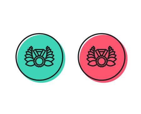 Laurel wreath line icon. Winner medal symbol. Prize award sign. Positive and negative circle buttons concept. Good or bad symbols. Laureate medal Vector