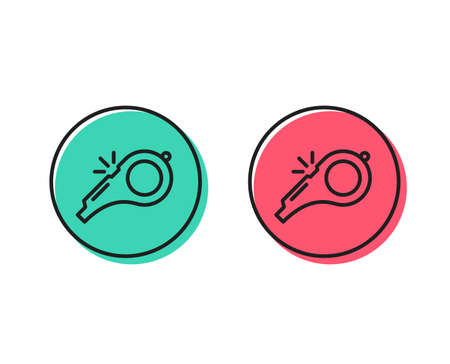 Whistle line icon. Kick-off sign. Referee tool symbol. Positive and negative circle buttons concept. Good or bad symbols. Whistle Vector