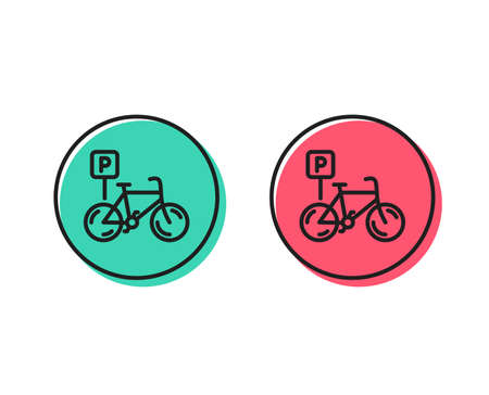 Bicycle parking line icon. Bike park sign. Public transport place symbol. Positive and negative circle buttons concept. Good or bad symbols. Bicycle parking Vector