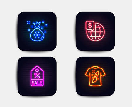 Neon glow lights. Set of Sale coupon, World money and Santa sack icons. T-shirt design sign. Discount tag, Global markets, Gifts bag. Painting.  Neon icons. Glowing light banners. Vector