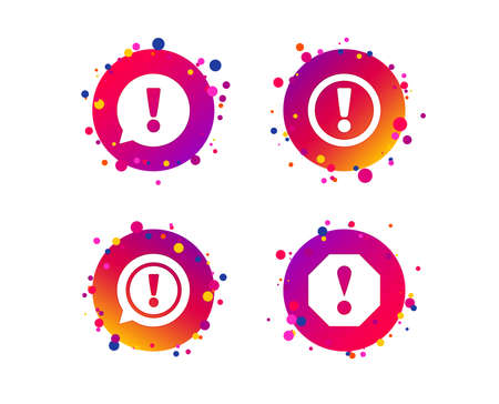 Attention icons. Exclamation speech bubble symbols. Caution signs. Gradient circle buttons with icons. Random dots design. Vector
