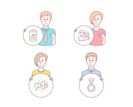 People hand drawn style. Set of Teamwork, Smartphone statistics and Sale megaphone icons. Medal sign. Man with woman, Mobile business, Shopping. Winner.  Character hold circle button. Vector