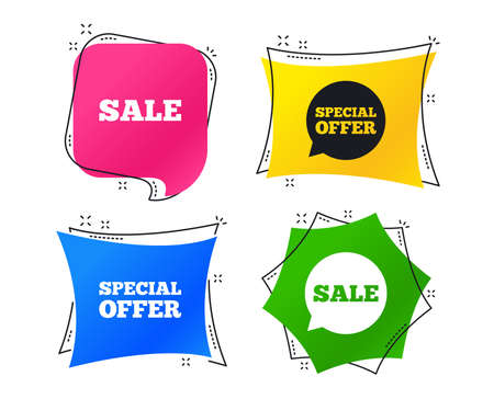 Sale icons. Special offer speech bubbles symbols. Shopping signs. Geometric colorful tags. Banners with flat icons. Trendy design. Vector