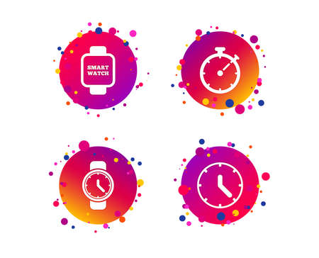 Smart watch icons. Mechanical clock time, Stopwatch timer symbols. Wrist digital watch sign. Gradient circle buttons with icons. Random dots design. Vector Stock Vector - 111104134