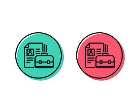 Business case with CV line icon. Portfolio symbol. Vacancy or Hiring sign. Positive and negative circle buttons concept. Good or bad symbols. Vacancy Vector