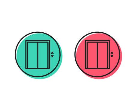 Lift line icon. Elevator sign. Transportation between floors symbol. Positive and negative circle buttons concept. Good or bad symbols. Lift Vector Foto de archivo - 111104144